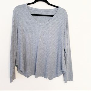Saturday Sunday Long Sleeve Split Back Top Gray